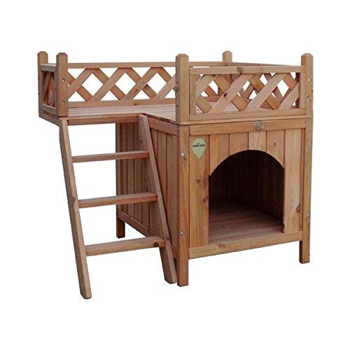 Nobleza Casa para Perro o Gatos, Estructura de Madera a Dos Alturas, Alto 66cm