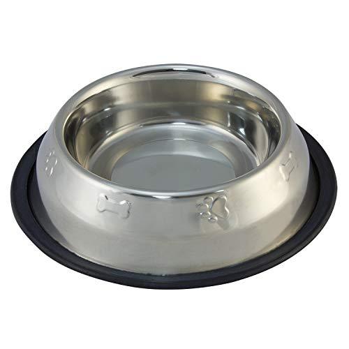 Arquivet Comedero para Perros y Gatos de Acero Inoxidable - Base Antideslizante - Decorado con Estilo - Cuenco para Perros y Gatos - Recipiente Comida para Mascotas - 450 ml / 20 cm