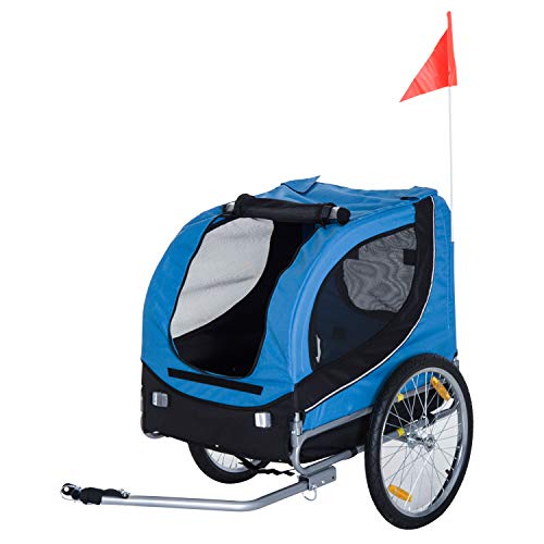 PawHut Remolque Bicicleta Perros Mascota 1 Bandera 6 Reflectores Remolque Bici Azul Negro