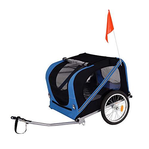 lionto by dibea Remolque de bicicleta para perros con enganche de remolque y cinturones de seguridad remolque para perros azul/negro