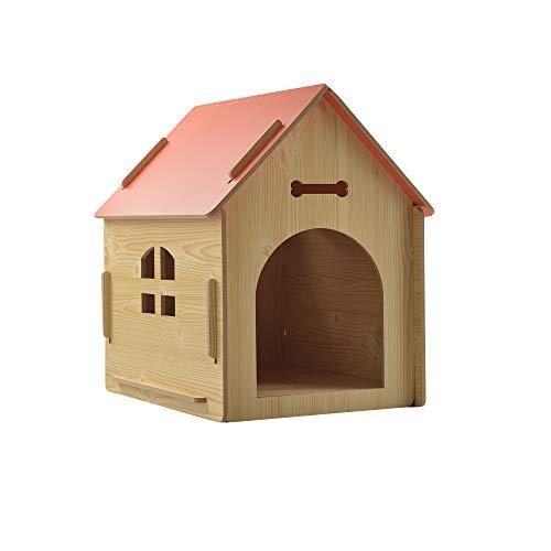 thematys Perrera de Madera para Perros I Casa para Perros para Uso Interior y Exterior I Lugar para Dormir a Las Mascotas I Resistente a la Intemperie y a los arañazos (S (40 x 39 x 45 cm), Style 2)