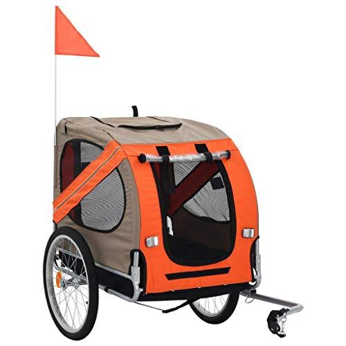 vidaXL Remolque Bicicleta Perros Impermeable Plegable 1 Bandera + 4 Reflectores Carrito Transporte Mascotas Transportín Universal Bici Marrón Naranja