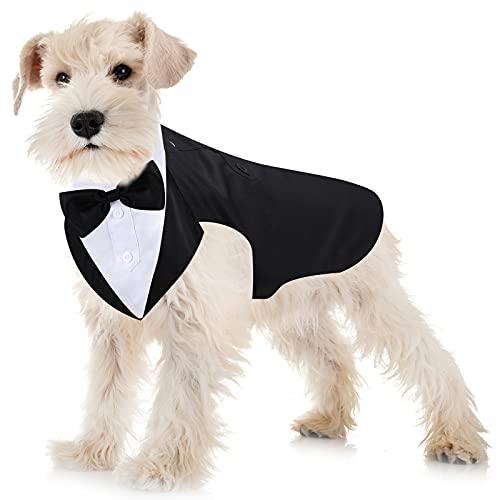 Esmoquin de Perro Set de Traje y Bandana de Perro Esmoquin Formal de Perros Traje de Fiesta Boda de Mascotas Camisa de Pajarita de Boda para Disfraces Cumpleaños Halloween (S)