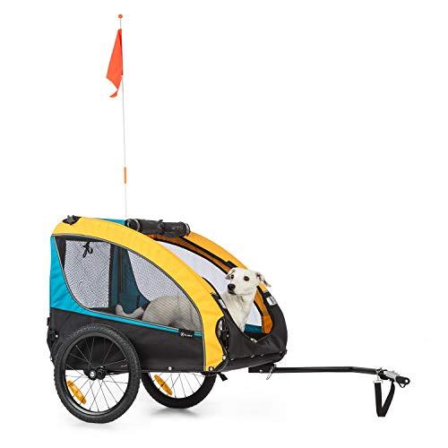 Klarfit Husky Race Remolque de Bicicleta para Perros - 282 litros, Lona 600D Oxford con Revestimiento Impermeable de PVC, Plegable, Resistencia máxima: 40 kg, Azul/Amarillo