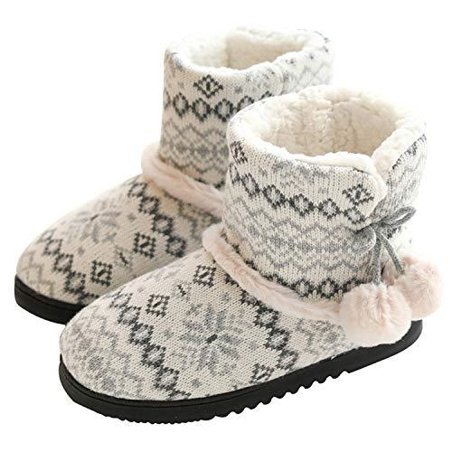 tqgold® Zapatillas de Estar por Casa Mujer Bota Pantuflas Cerradas Invierno Interior Antideslizante Suaves Peluche Bootie Gris Talla 39 40
