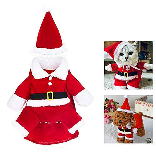 WELLXUNK® Disfraz de Papá Noel de Pet, Disfraz de Navidad para Mascotas, Disfraz de Navidad para Perros Lindo Santa Claus Ropa de Fiesta año Nuevo Divertido Disfraz para Fiestas de Mascotas (L)