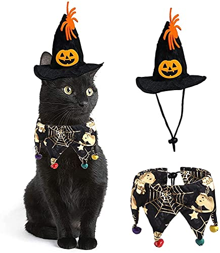 Mascota Disfraz de Halloween Disfraz de Gato Collar Capa con Sombrero Animales pequeños Gatitos y Cachorros Perros pequeños Cosplay Fiesta de Halloween Decoración para Mascotas (telaraña)