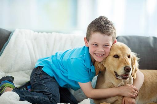 niño abrazando un golden retriever