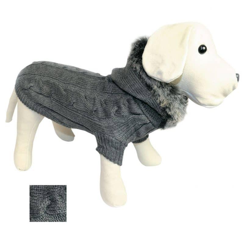 abrigo con capucha y aros para correas para perros